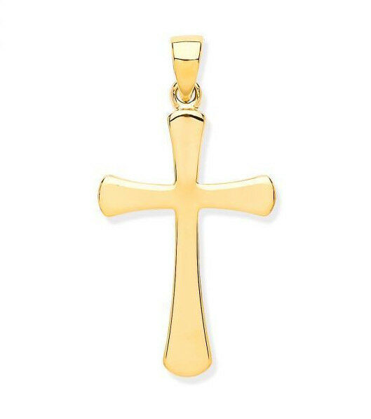9CT HALLMARKED YELLOW gold MIRROR FINISH ROUNDED ENDS 24MM X 15MM CROSS & CHAIN