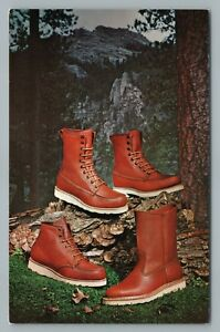 2a8e92ab6cfda Details about Irish Setter Sport Boots RED WING Shoes—Vintage Advertising  Postcard 1950s