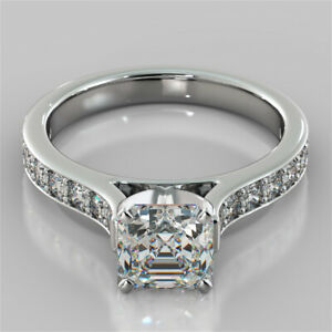 2.32 Ct Asscher Cut Moissanite Anniversary Ring 18K Real White Gold ring Size 8