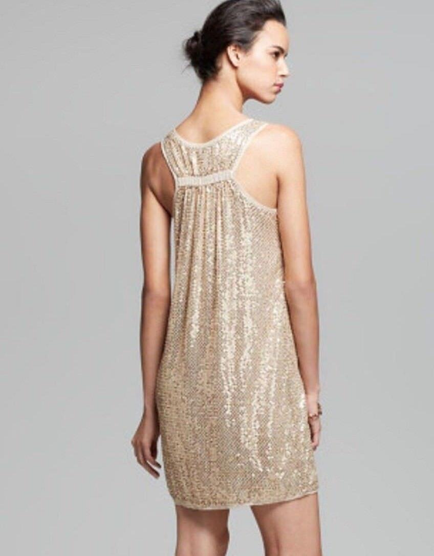 498 Neuf avec étiquettes DIANE VON FURSTENBERG Sz4 Pellina Soie Sequin Dos Nag Tank Dress Gold