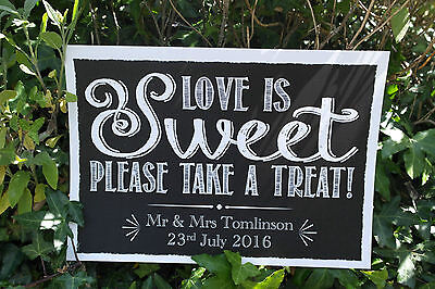 VINTAGE chalk style LOVE IS SWEET candy sweet cart buffet print WEDDING party