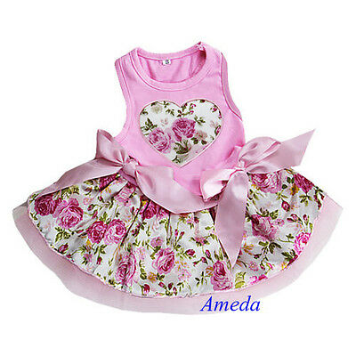 Valentine's Day Light Pink Rose Flower Heart Party Dress Small Pet Dog Clothes