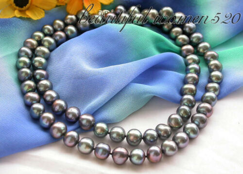 "z3944 32/"" 12mm Black round freshwater pearl cultured necklace"