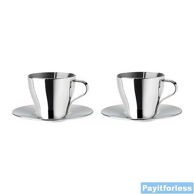 Stainless Steel Double Wall Thermal Espresso Coffee Cups + Saucers 2 pc