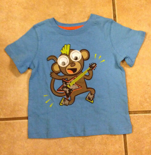 Boy/'s Blue Graphic Tee Top Rocking Roll Guitar Monkey Size 18M TWO LEFT!