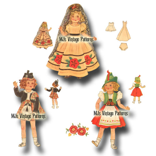 """Vtg 16/"""" Doll Pattern for Shirley Temple Patsy Joan ~ Int/'l Costumes Spanish"""