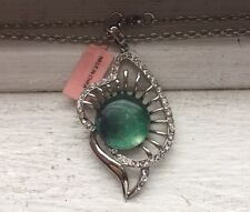 """Stainless Steel Green Lilly Leaf Crystals Pendant 20"""" Chain Necklace BNWT"""