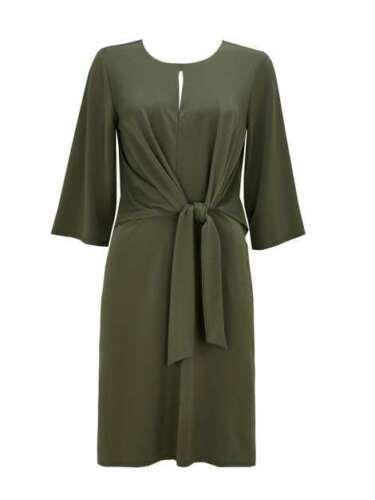 Uk12 Tie in Front Wallis citt New taglia day Khaki Abito jersey dress nqtxXS8Hww