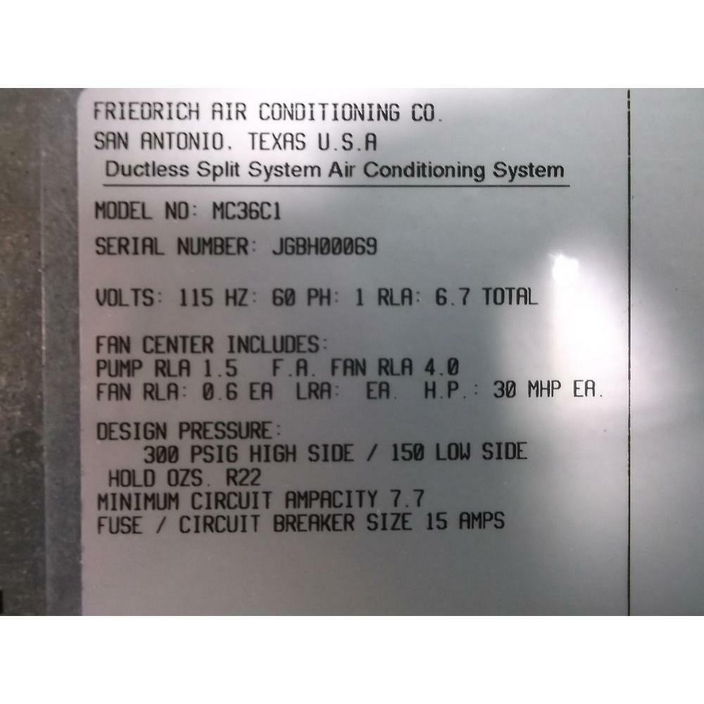 Friedrich Mc36c1 3 Ton Mini Split Indoor Air Conditioning Unit 36438 Conditioners Wiring Diagram Norton Secured Powered By Verisign
