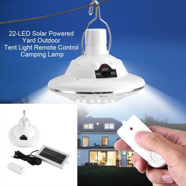 Solar Led Tent Bulb Portable Light Outdoor Camping Yard Remote Control Lamp Uk
