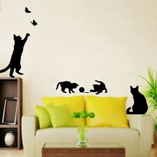 Black Cat Play Butterfly Cute Wall Sticker Vinyl Removable Baby Home Rooms Decal