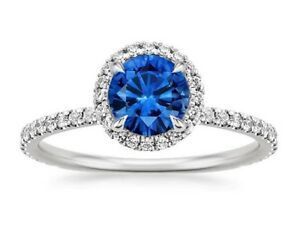 1-65-Ct-Diamond-Natural-Blue-Sapphire-Gemstone-Ring-Sterling-Silver-Size-N456787