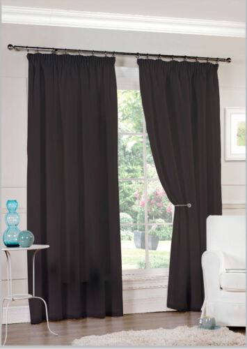 choose size from li… Black Lined Voile luxury net curtains 3 inch header tape