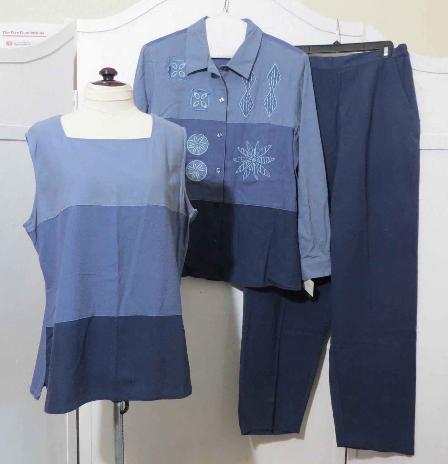Cervelle L bluee 3 pc Pants Suit Floral Long Sleeve Shirt button-down Silk Tank