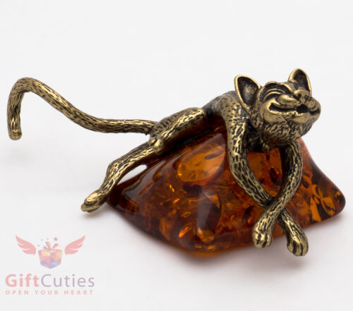Solid Brass Amber Figurine of Cat On Amber Pillow IronWork
