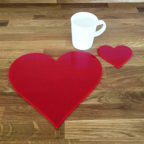 Heart Shaped Red Gloss Acrylic Placemats /& Coasters 4 6 or 8 27cm 10.5/""