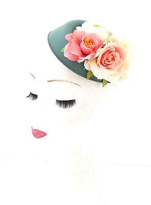 White orchid flower pilulier chapeau fascinator races rockabilly 1950s vintage 497