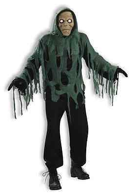 Shrouded Zombie Ghoul Scary Monster Black Fancy Dress Halloween Adult Costume