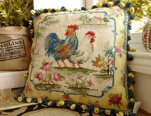 Beautiful-Rosters-Roses-Chic-French-Country-Hand-Crafted-Wool-Needlepoint-Pillow