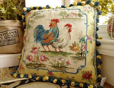 Beautiful Rosters Roses Chic French Country Hand Crafted Wool Needlepoint Pillow