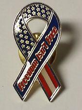 FREEDOM ISN'T FREE USA MILITARY RIBBON LAPEL PIN HAT TAC NEW
