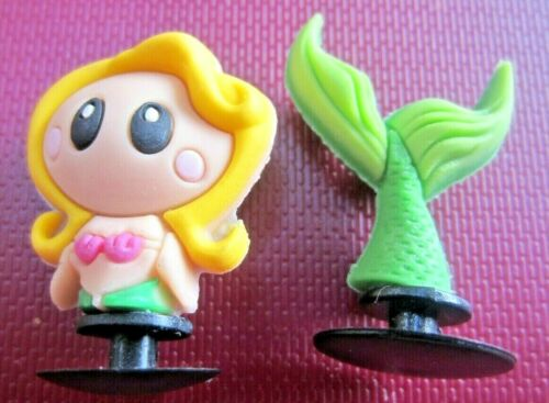 2-PC 3-D MERMAID Shoe Charms for CROCS//HOLEY SHOES//CAKE DECORATIONS US SELLER
