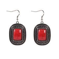 New Tibetan Silver Artesian Crafted Red Rectangle Gemstone Dangle Drop Earrings