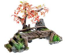 Wooden Bridge with Tree Aquarium Ornament Fish Tank Cave Vivarium Decoration