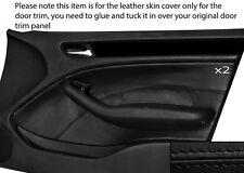 Costura negra 2x Frontal Puerta Tarjeta Trim Skin Tapa se ajusta Bmw E46 Saloon 98-05