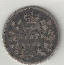 CANADA,  1880-H,   5 CENTS,  SILVER,  KM#2,  VERY GOOD+  ( 003 )