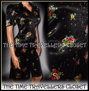 Kate-Moss-Topshop-Black-Silky-Floral-Zip-1940s-1950s-Vintage-Tea-Dress-UK-8-36-4