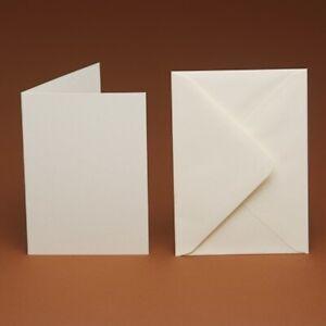 10-luxe-vierge-cartes-A6-amp-enveloppes-ivoire-blanc-lin-hammer-plain-255gsm