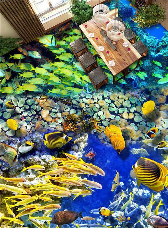 Gelbe Süß Fisch 3D Fußboden Wandgemälde Foto Bodenbelag Tapete Zuhause Dekoratio