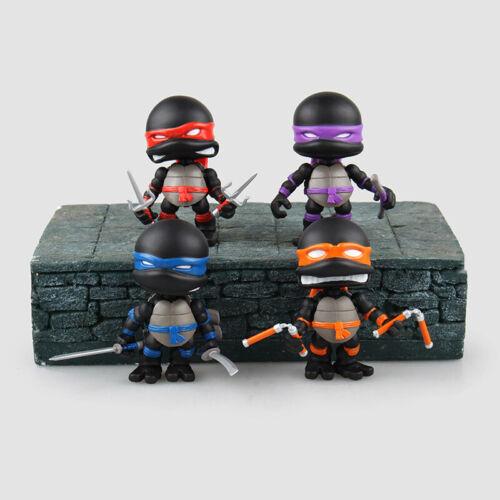 Set 4 TMNT Teenage Mutant Ninja Turtles Action Figure Q Ver Black #TA25