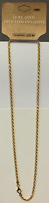 Gold Plated Sterling Silver Rope Chain - Lobster Claw Clasp - 8.4 Dwt - JK931
