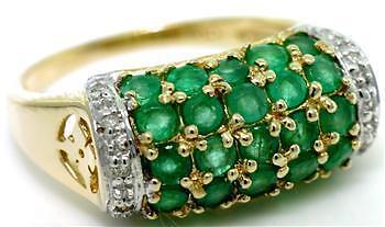 2.60ct Emerald & Diamond 9ct 9K Solid gold Genuine Ring - 30 Day Returns
