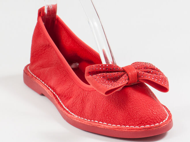 New  Francesco V. Red Bow Leather  Flats 39 US 9