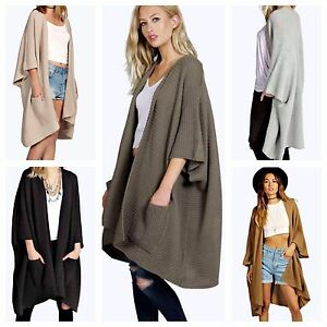WOMENS LADIES CASUAL SOFT KNITTED WATERFALL CARDIGAN SHAWL POCKET ...