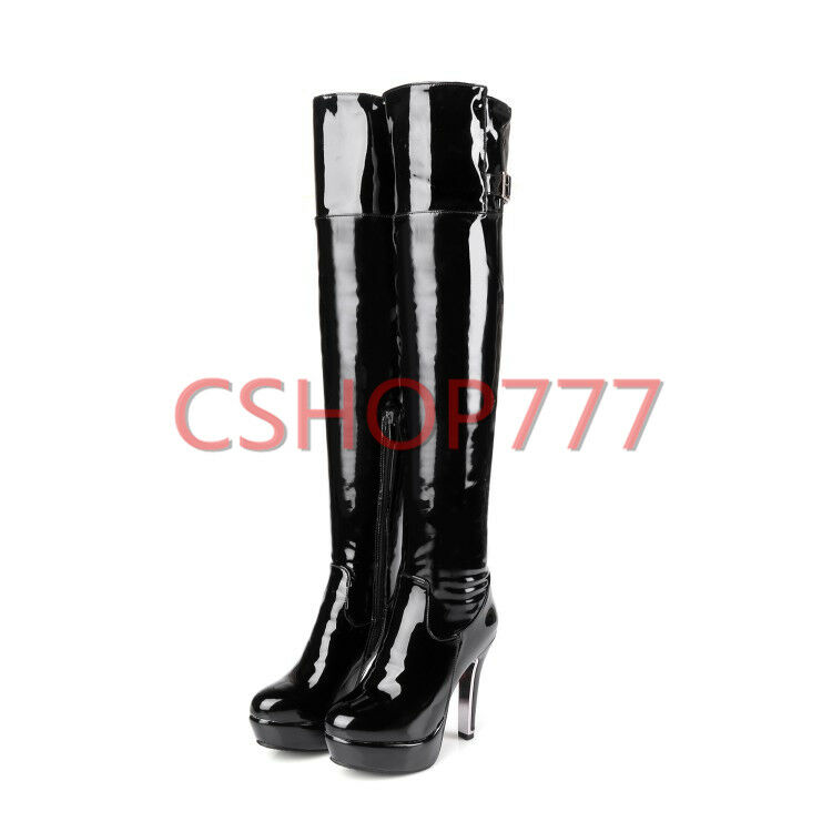 Donna Platform patent Pelle Over the Thigh Stivali High Zip Heels Zip High Boot Lady Hot 8232ec