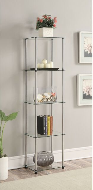 Clear Gl Stainless Steel 5 Tier Tower Display Bookcase Storage Shelves Modern