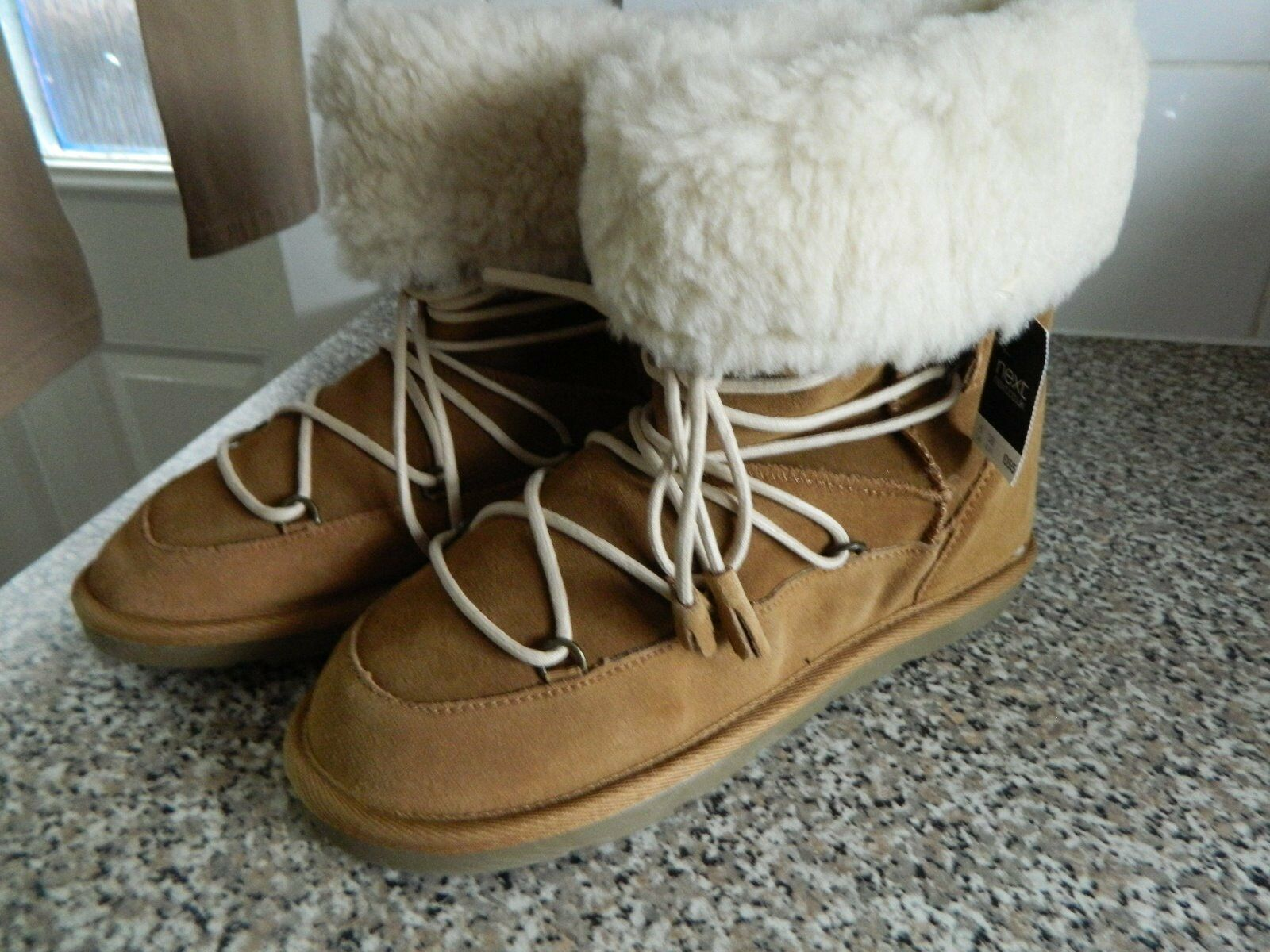 NEXT SZ 3 TAN SUEDE LEATHER AND FAUX FUR LACE UP BOOTS BNWT WAS  NOW
