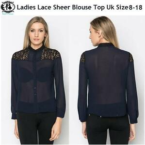 Ladies-Lace-Sheer-Blouse-Size8-18-Collar-Shirt-Top-Button-up-Casual-Smart-Tunic