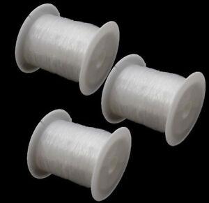 300-Meter-Faden-SILIKON-SCHMUCKFADEN-0-2mm-Klar-Perlenfaden-3-spule-C112-3