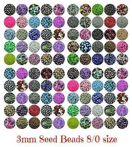 30g-x-Approx-3mm-Size-8-0-Glass-Seed-Beads-Jewellery-Beading-PICK-COLOUR