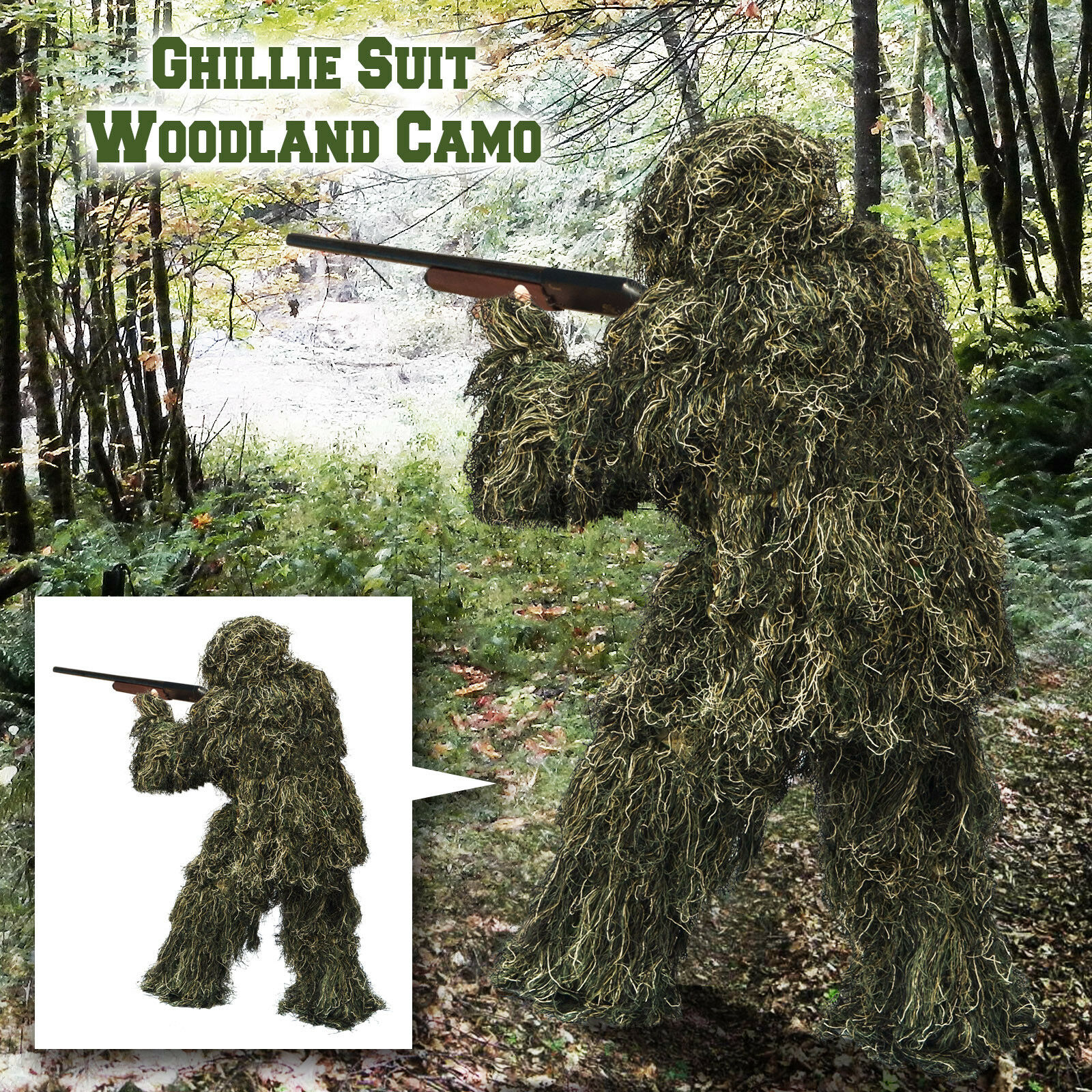 Sporting outdoor Ghillie Suit Hunting Woodland Camouflage Battlefield Game Suit