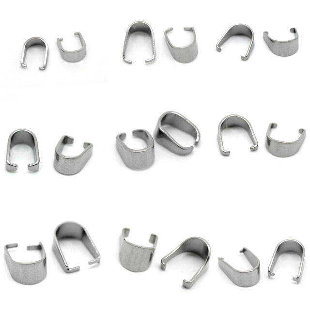 30 100 200 Stainless Steel Pinch Clips Bail Connectors Jewelry Necklace Findings