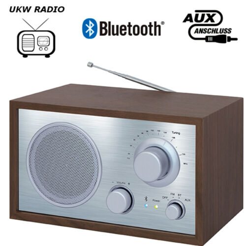 EDR Holzgehäuse Streaming TERRIS Retro Radio NRB 254 UKW AUX-IN Bluetooth 2.1