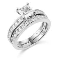 14k White Gold Engagement Ring And Wedding Band 2 Piece Set Size 7