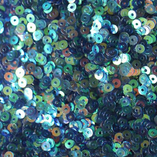 3mm Flat SEQUIN PAILLETTES ~ OCEAN BLUE AURORA RAINBOW Premium Rainbow Metallic