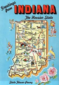 Greetings From Indiana The Hoosier State Indianapolis - State of indiana map